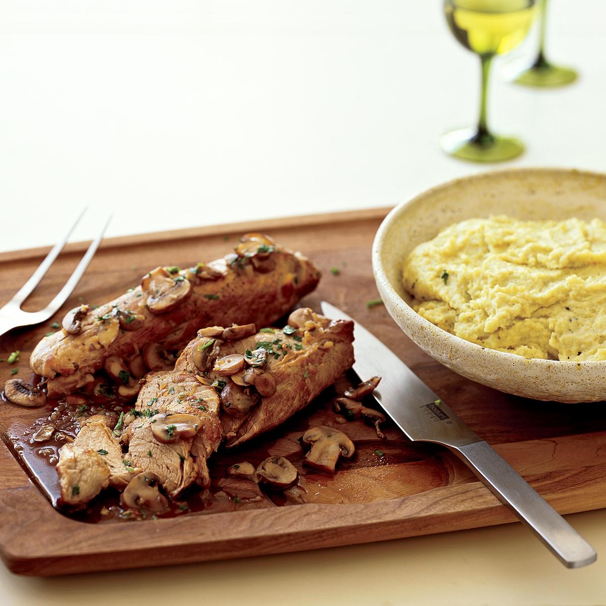 Pork Tenderloin with Cheesy Polenta