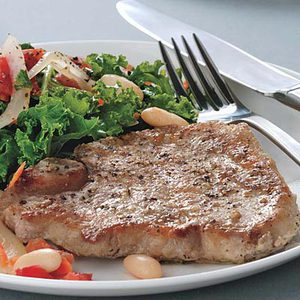 Pork Chops with Stewed Cannellini Beans