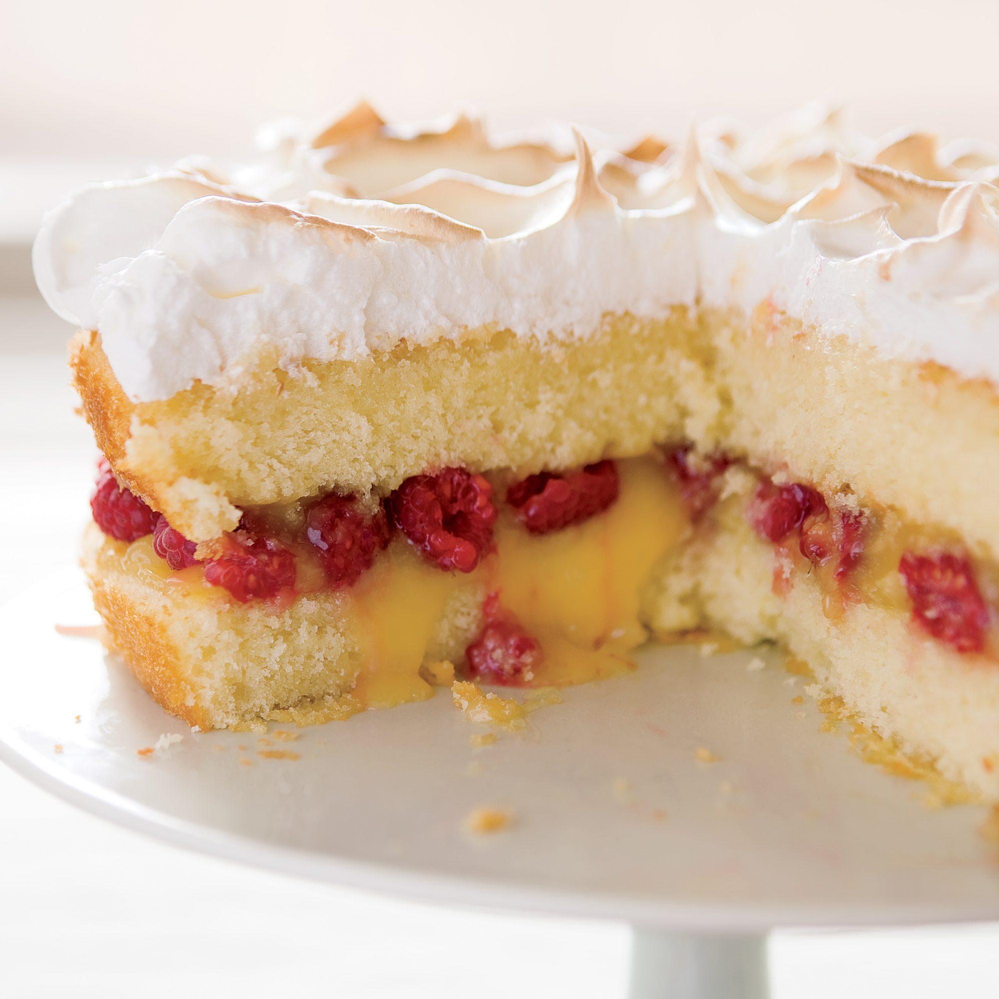 Raspberry-Lemon Meringue Cake