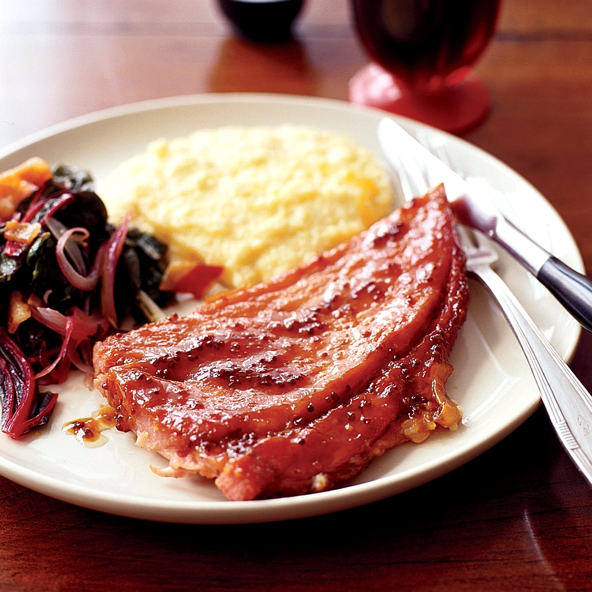 Red-Eye Ham Steaks with Cheese Grits and Seared Chard