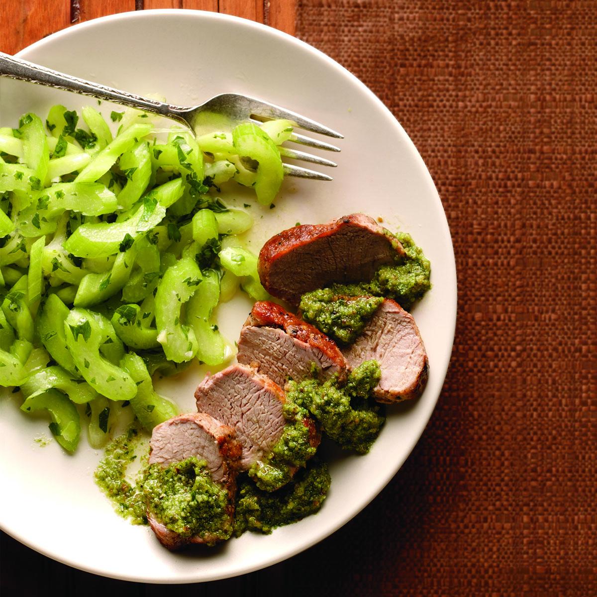 Roast Pork Tenderloin with Celery Slaw