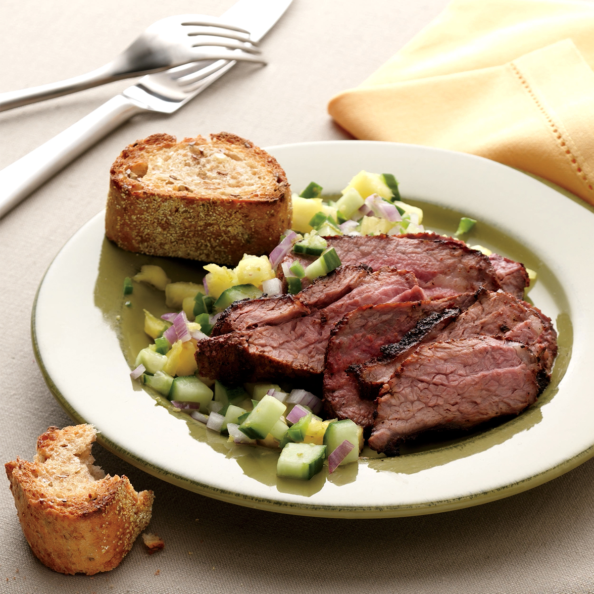 roasted tri tip with cucumber pineapple salsa