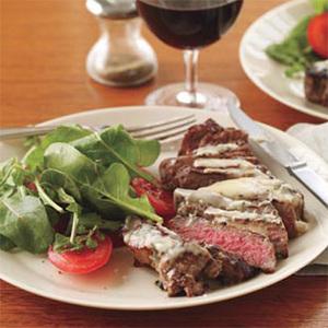 Sage-Chive Steaks with Arugula Salad