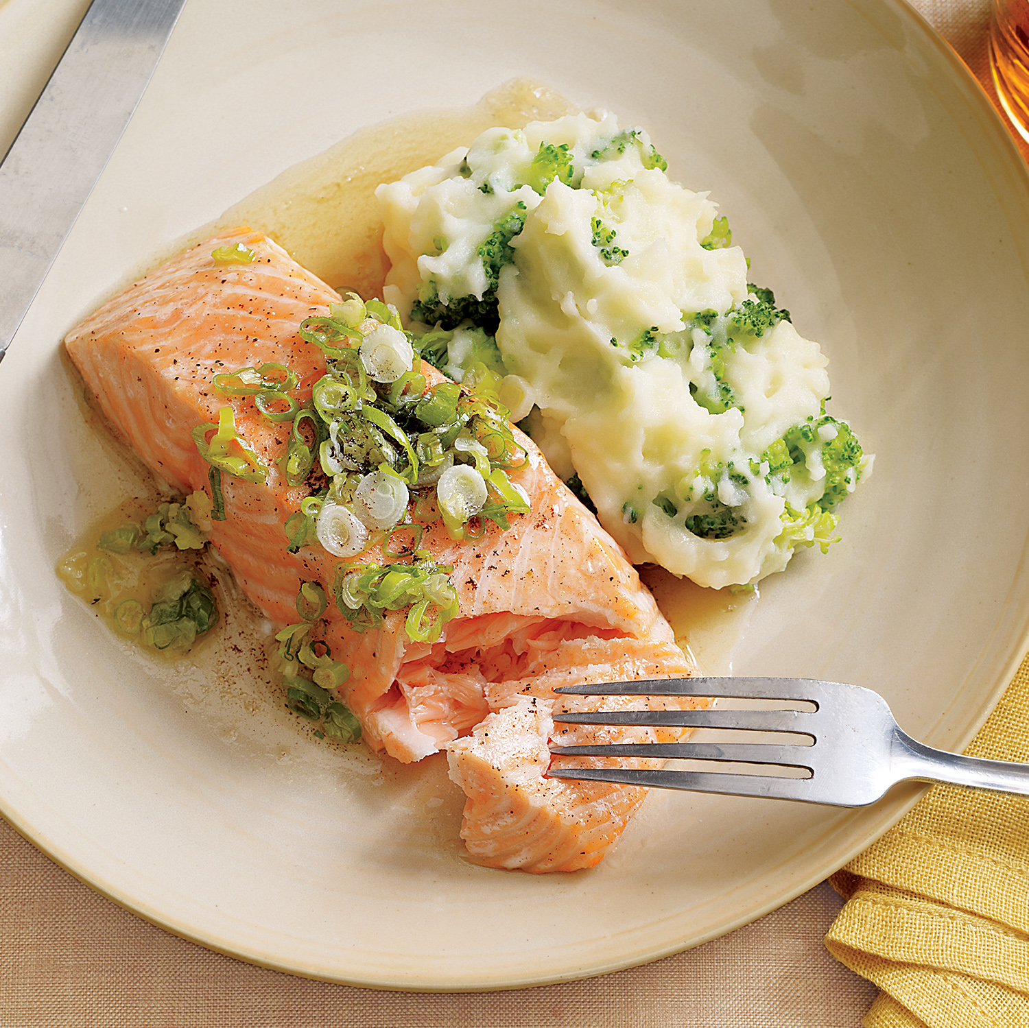 Salmon with Browned Butter and Mashed Broccoli Potatoes