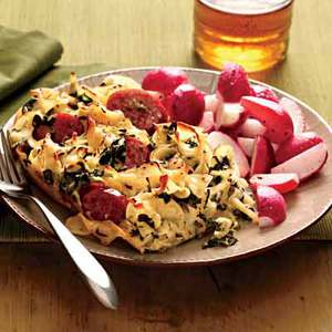 Sausage-Noodle Bake with Sauteed Radishes