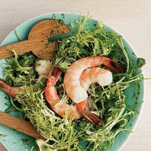 Shrimp, Arugula and Frisee Salad with Pesto Dressing