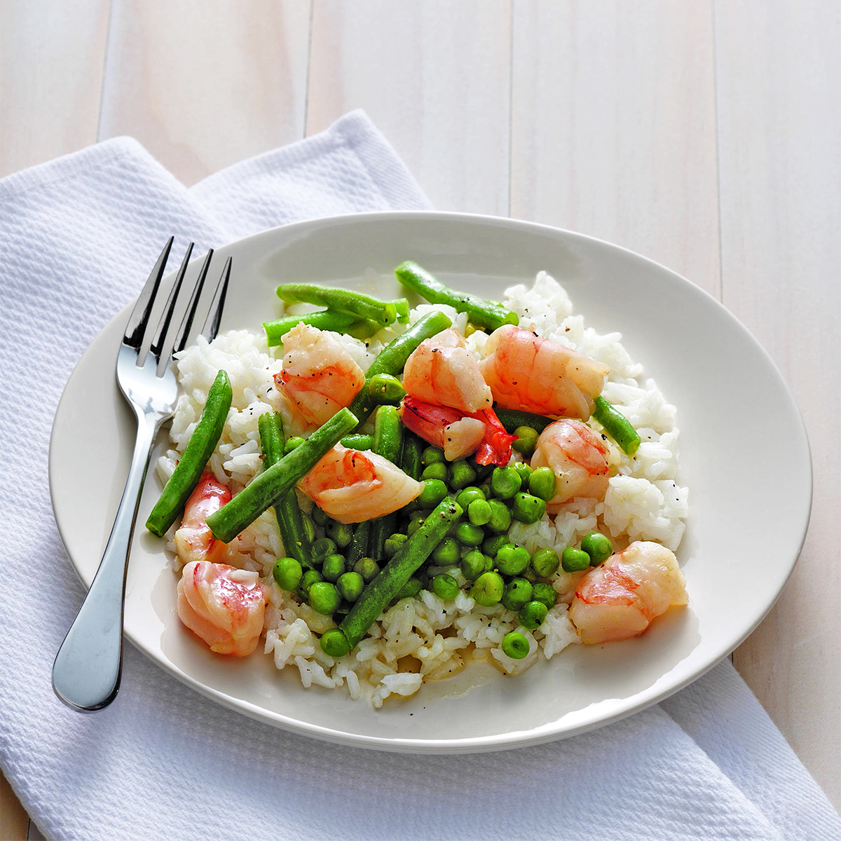 shrimp over coconut rice