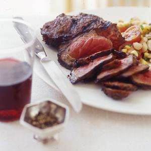 Sliced Spice Steak and Succotash Salad