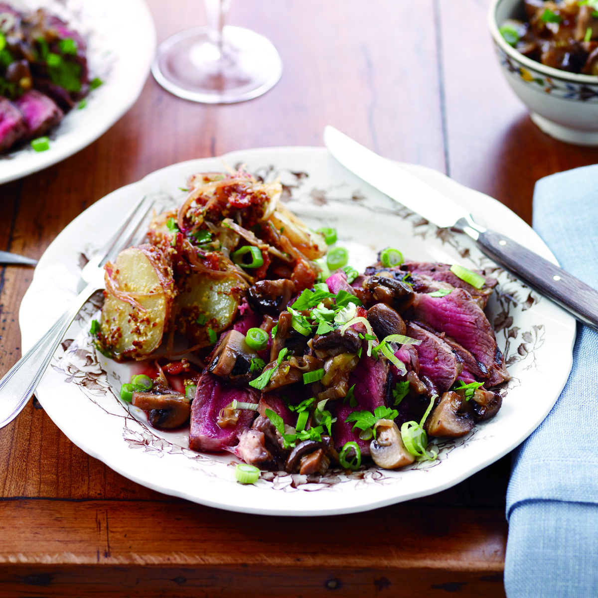 Sliced Steak and Mushrooms with Warm Potato Salad