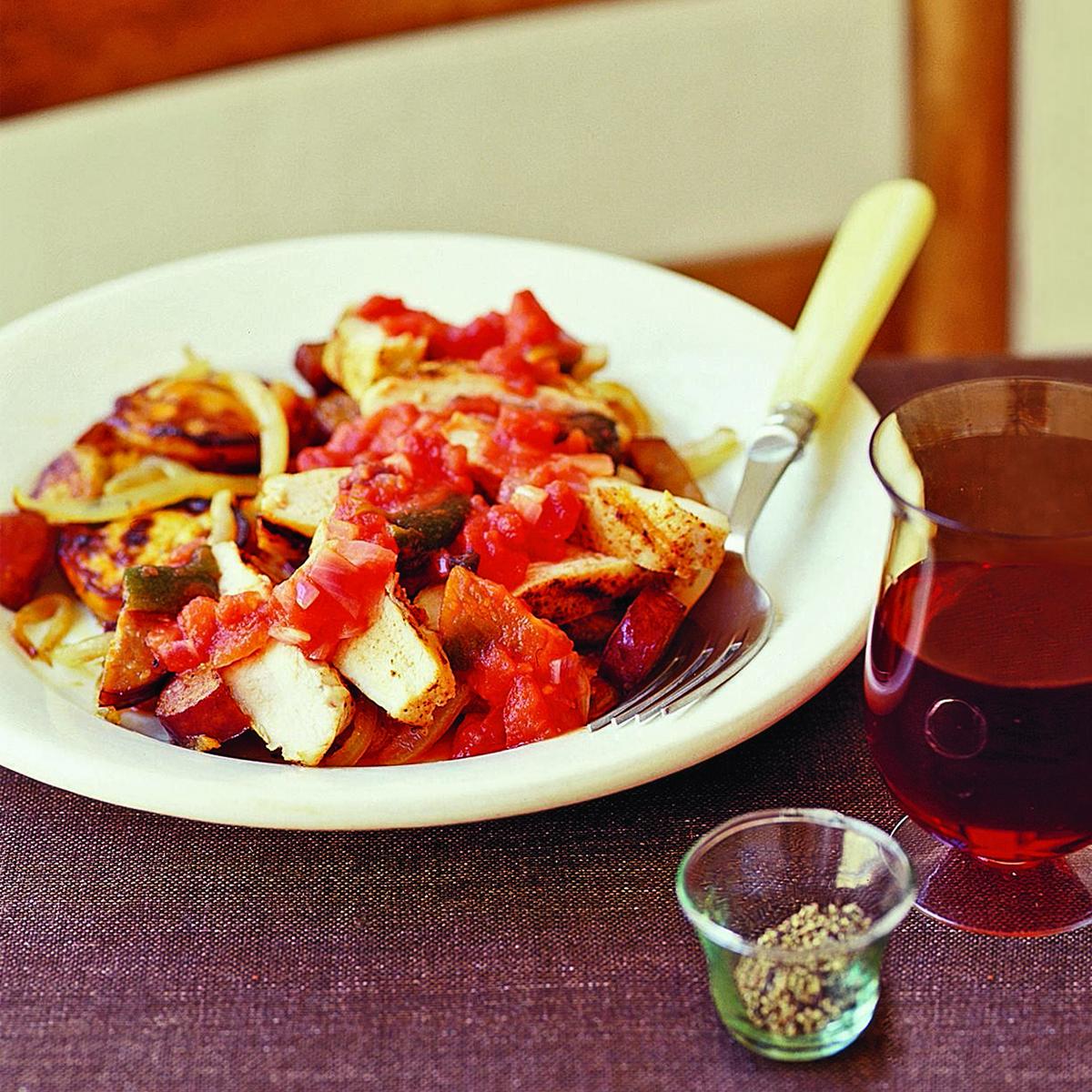 Smoky Chicken with Sweet Potatoes and Chorizo