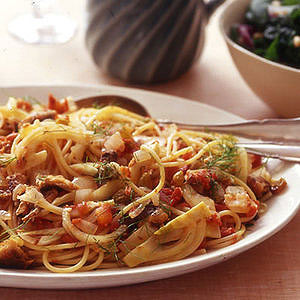 Spaghetti with Sardine-Fennel Sauce and Spinach Salad