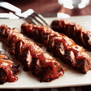 Spiced Pork Tenderloins with Ancho Peanut Sauce