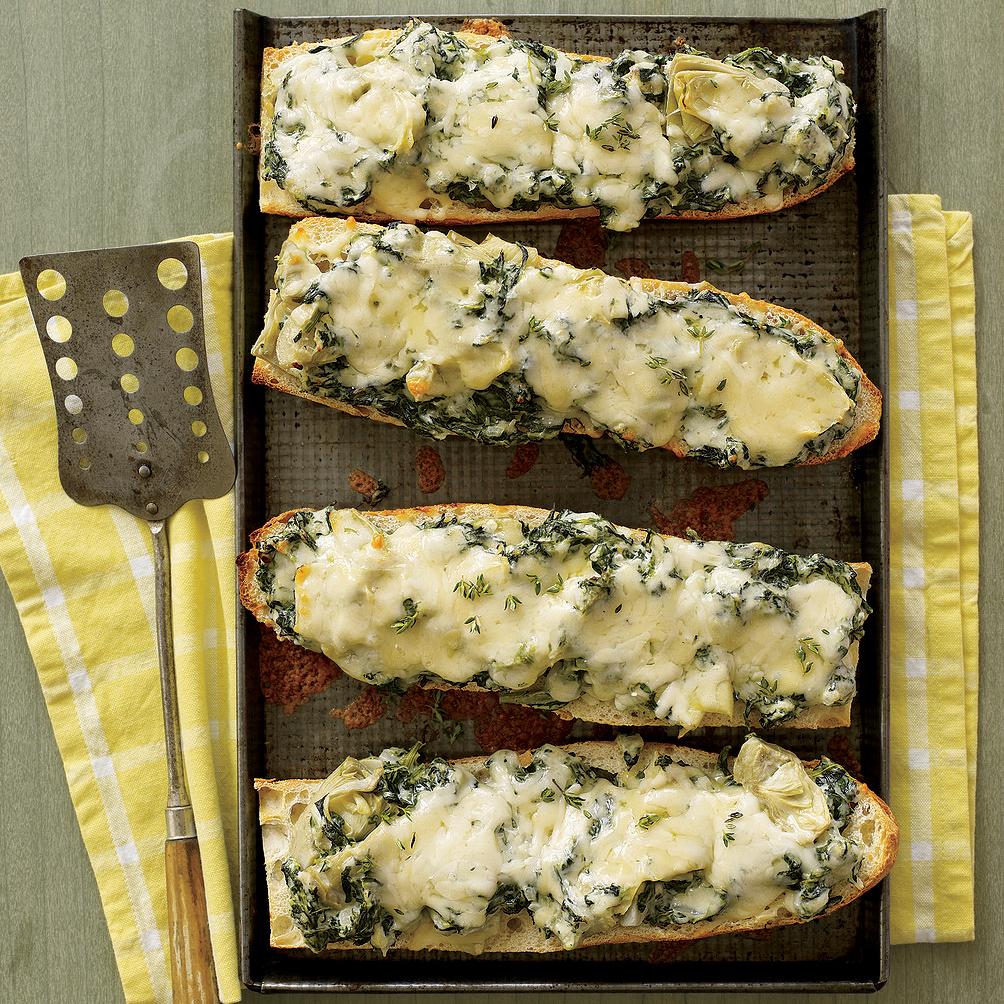 Spinach-Artichoke French Bread Pizza