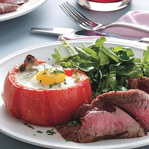 Steak and Tomato-Baked Eggs