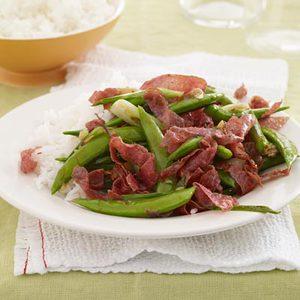 Sugar Snap Peas-and-Salami Stir-Fry