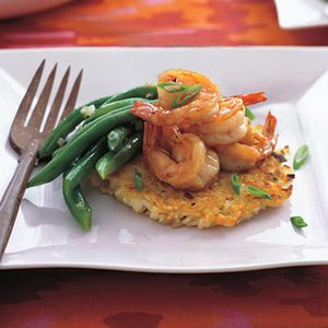Sweet and Saucy Shrimp over Vegetable Rice Cakes