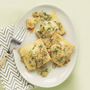 Sweet Cheese Ravioli with Mint Sauce