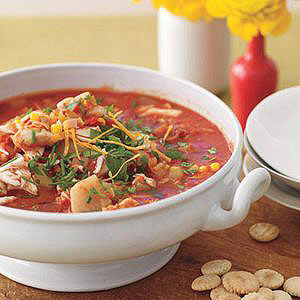 Sweet Red Chowder with Leek, Corn and Crab