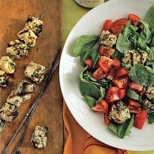 Swordfish Kebabs with Tomato-Arugula Salad