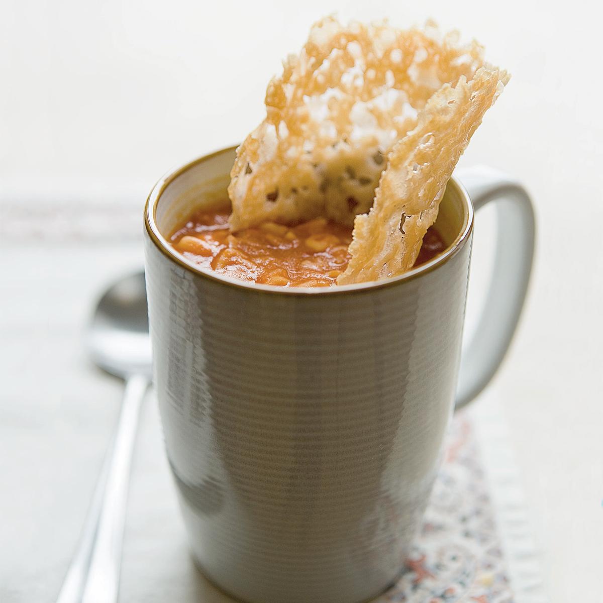 tomato alphabet soup with parmesan crisps