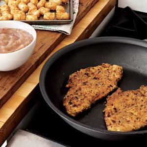 Turkey Schnitzel with Tots and Apple-Cranberry Sauce