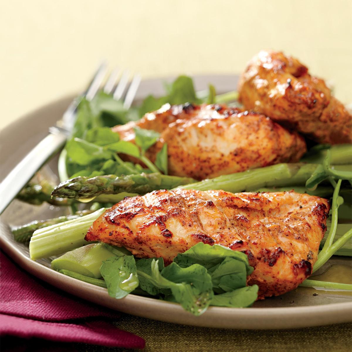 Yogurt-Marinated Chicken with Asparagus and Watercress
