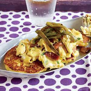 Arepas with Poblanos, Bacon and Eggs
