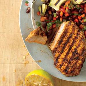 Chili-Rubbed Pork Chops with Black Bean Salad