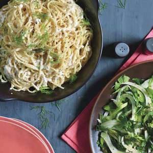Creamy Cacio e Pepe with Fennel-Celery Salad