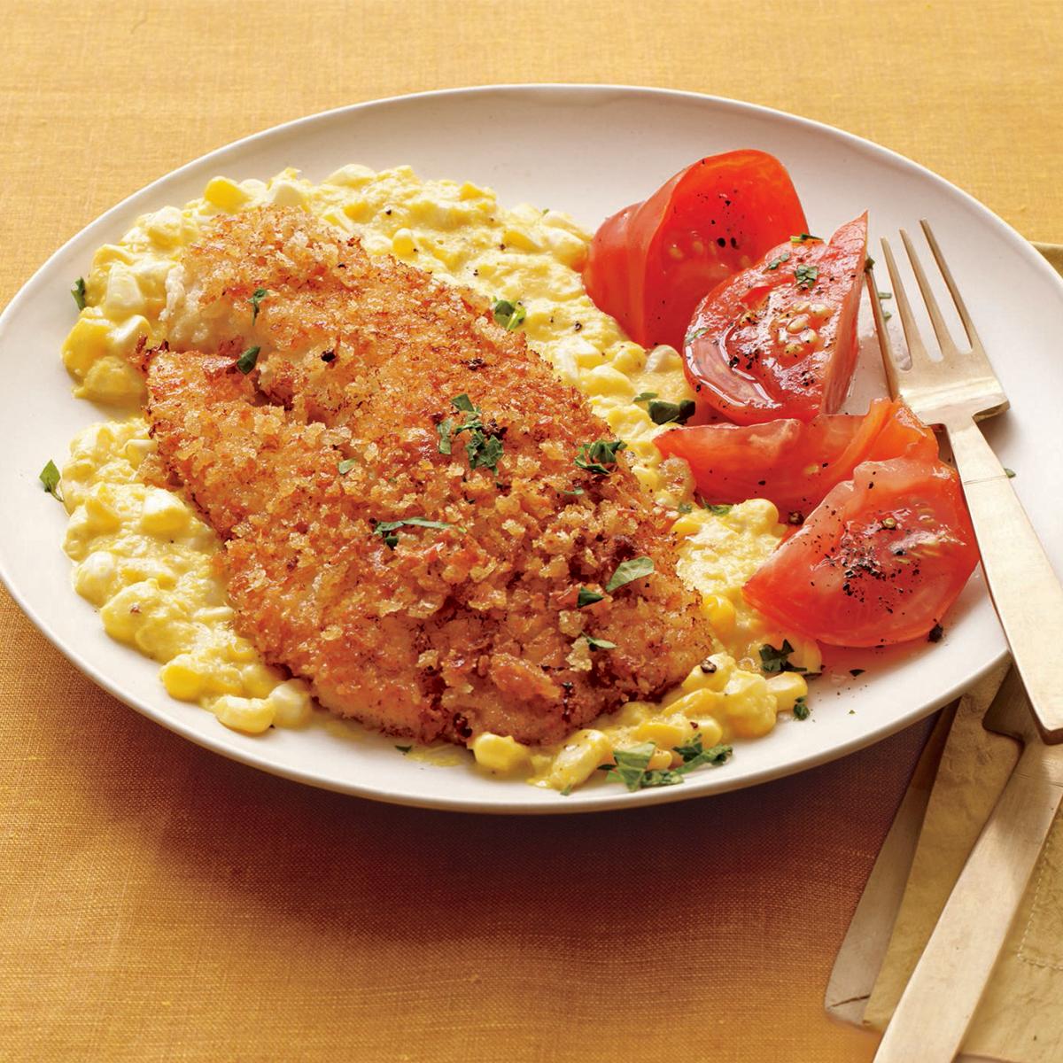 Crispy Fish with Creamed Corn