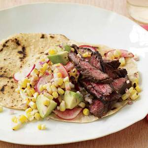 Garlic-Marinated Steak with Corn Salsa