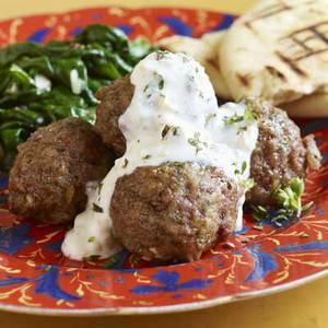 Greek Meatballs with Feta-Walnut Sauce