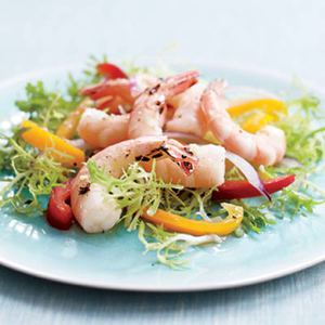 Grilled Shrimp with Frisee and Pepper Salad