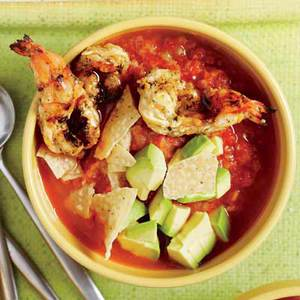 Hot and Cold Gazpacho with Grilled Shrimp and Crushed Tortilla Chips
