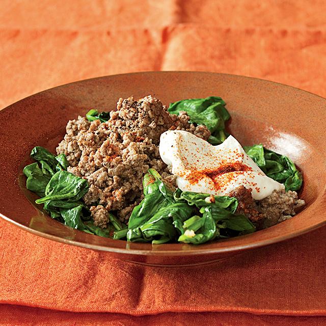 lamb and garlic spinach
