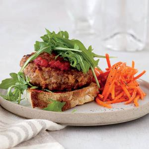 Meatloaf Patties with Carrot Slaw