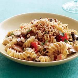 Mushroom Fusilli with Garlic Breadcrumbs