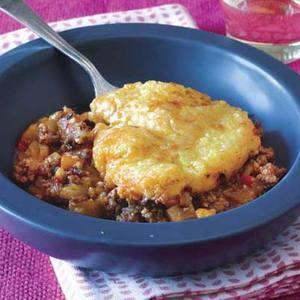 Polenta-Topped Lamb & Eggplant Pie