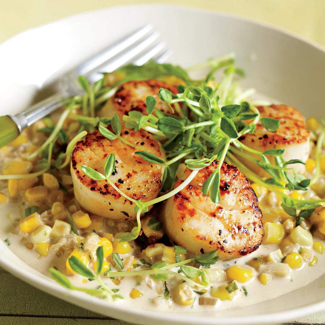 sea scallops with creamed corn and tarragon