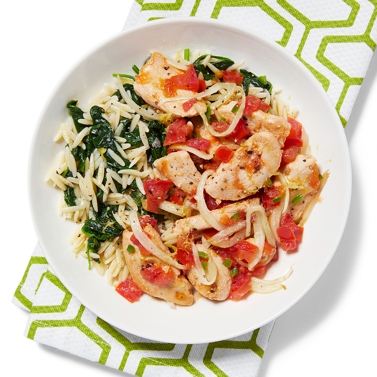 Spicy Chicken with Spinach Orzo
