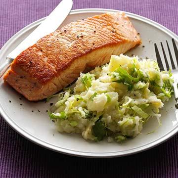 Crispy Salmon with Frisee Mashers