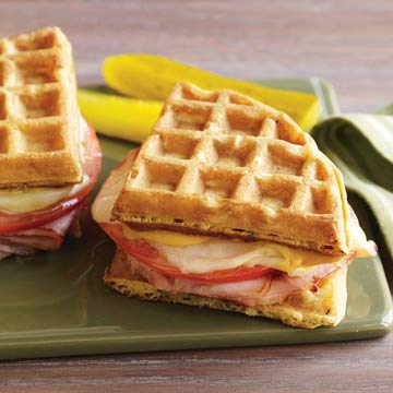 Grilled Ham n Cheese Waffle Sandwiches