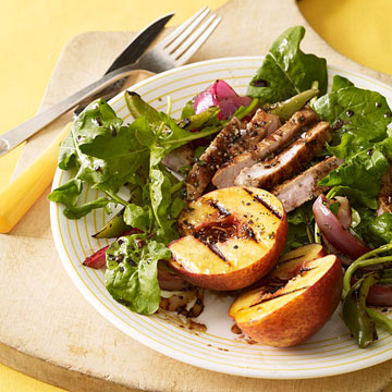 Grilled Pork Salad with Balsamic Peaches