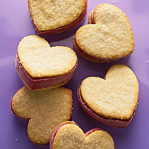 I-Heart-Raspberry Sorbet Sandwiches