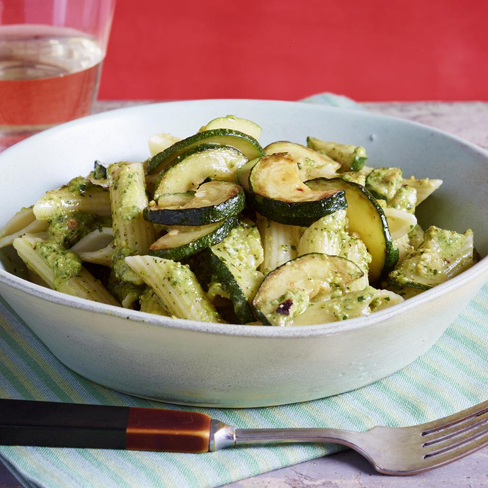 Zucchini & Penne with Hot Pepper Pesto
