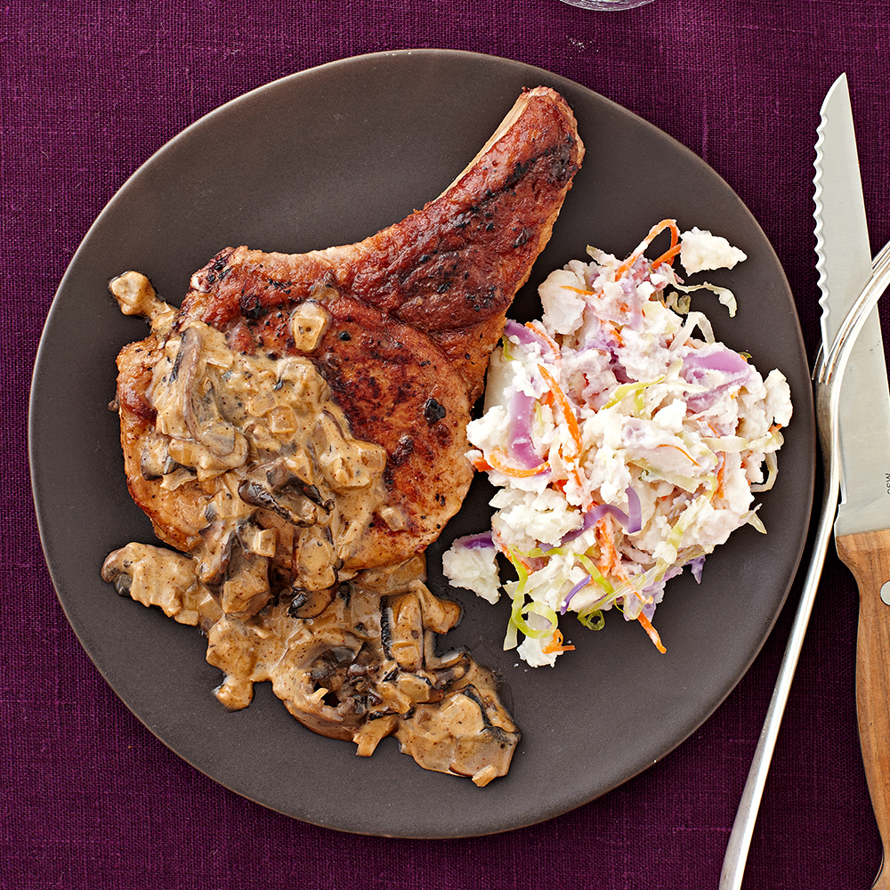 Smothered Pork Chops with Smashed Potatoes