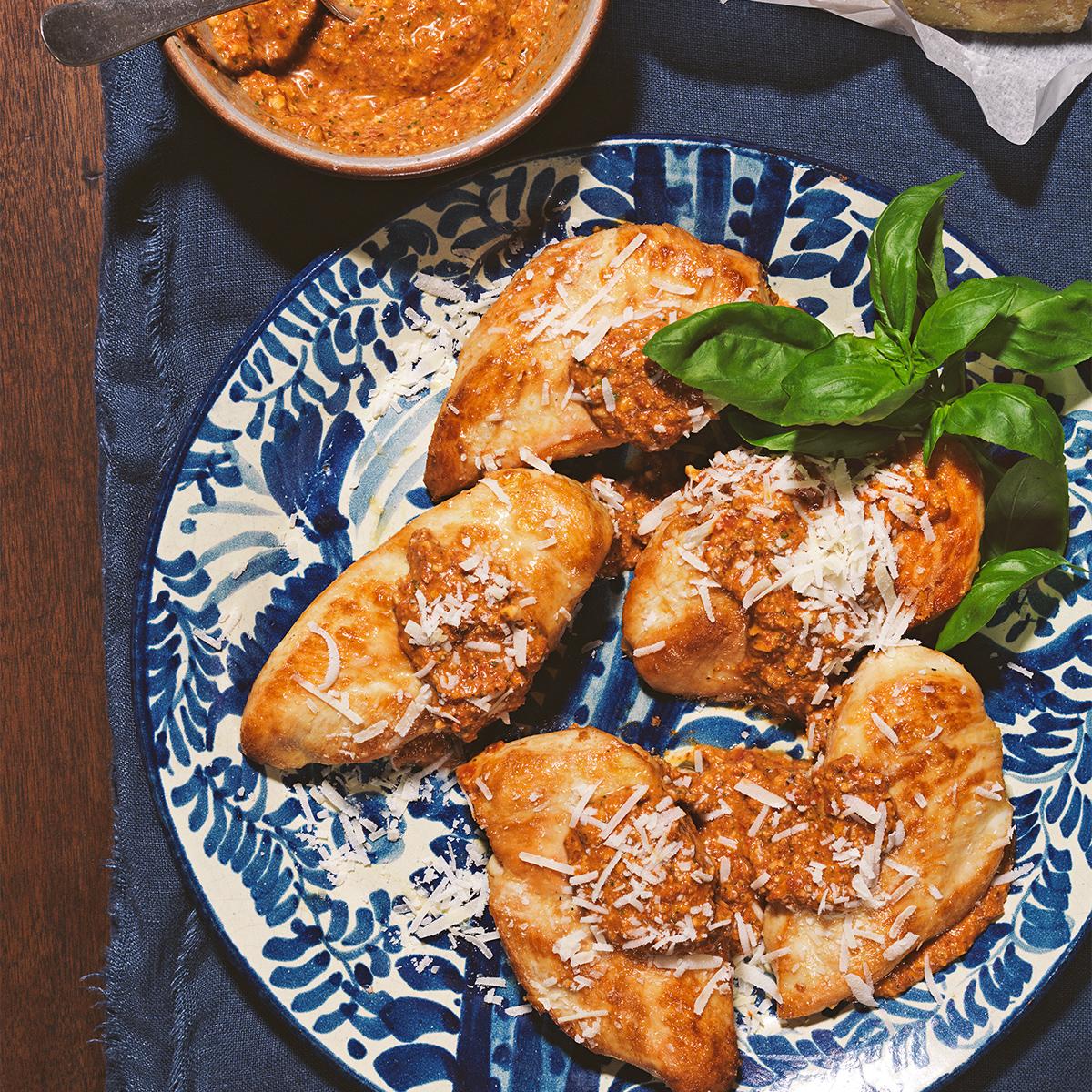 Almond Pesto Trapanese over Seared Chicken