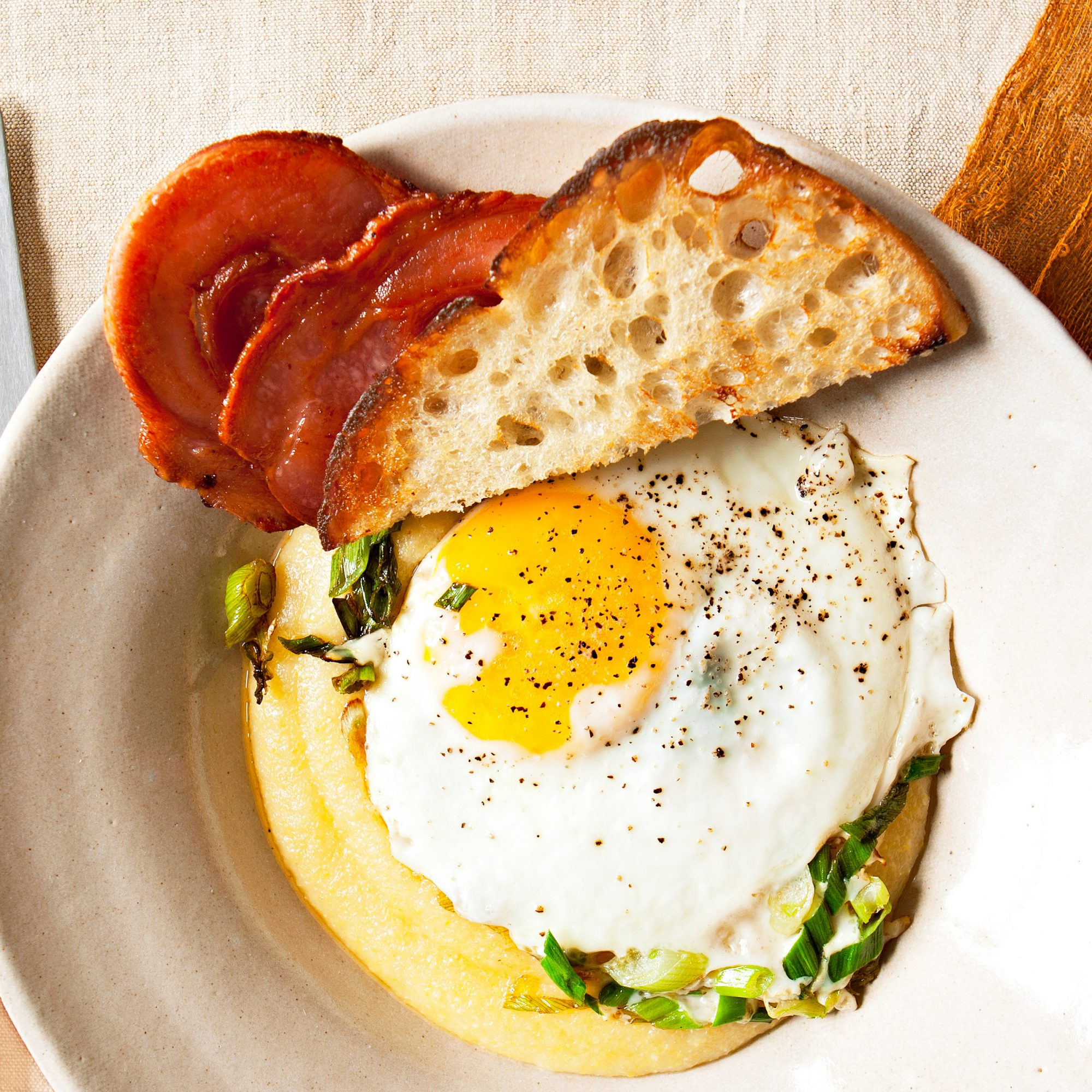 Eggs with Polenta & Pancetta