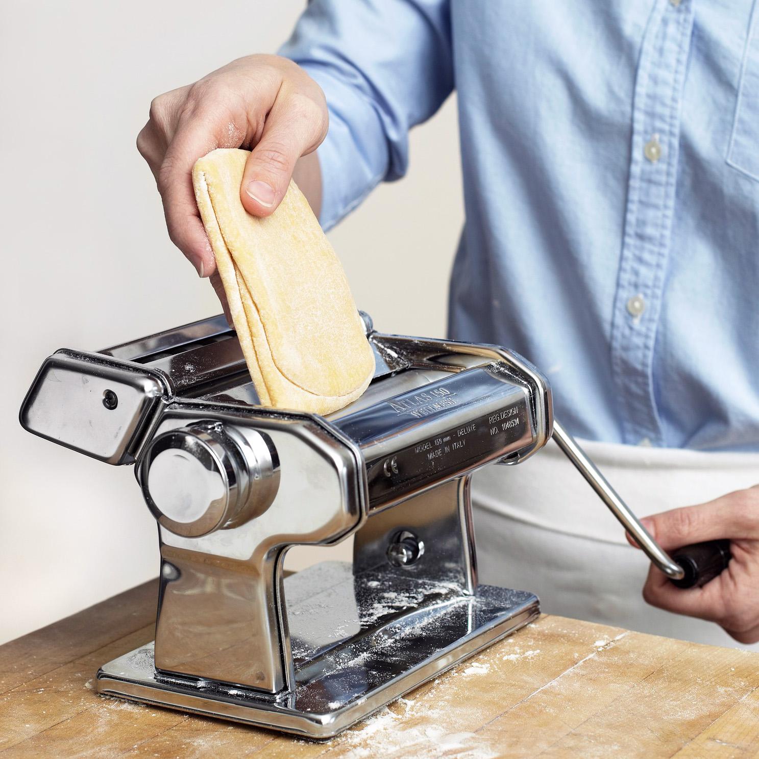 fold dough in half and run through pasta machine again
