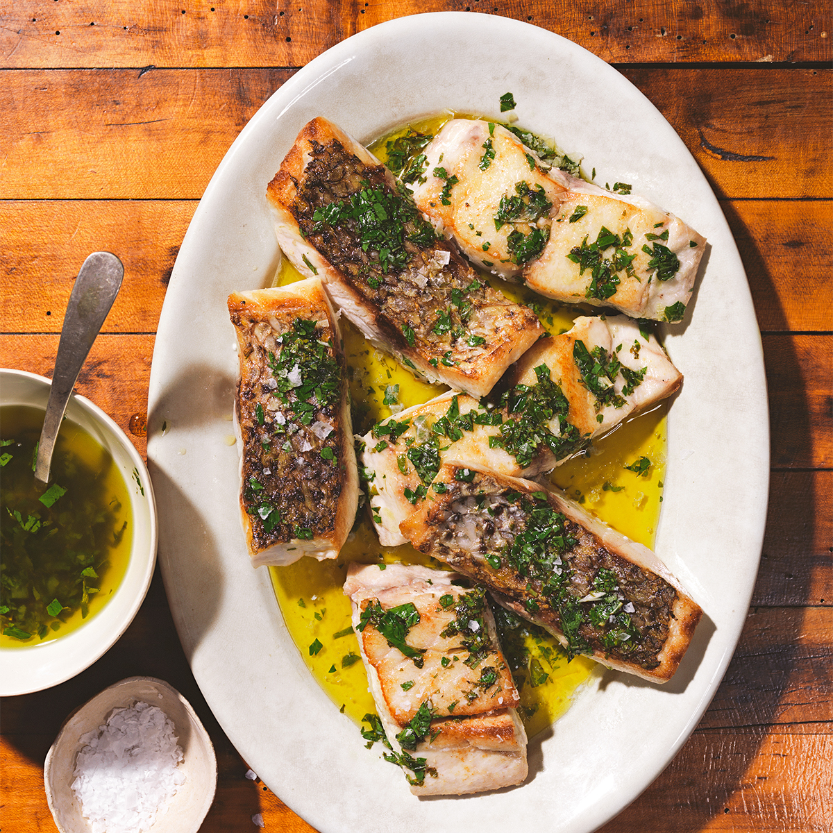Salmoriglio Sauce with Striped Bass